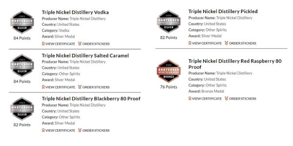 Triple Nickel Distillery awards from the 2020 Bartenders Spirits Awards for its brands