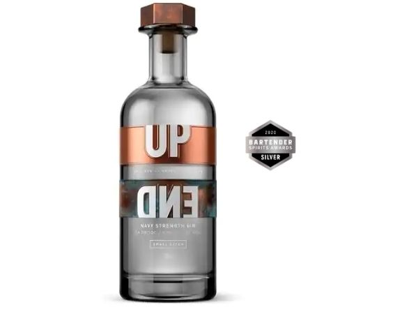 UpEnd Navy Strength Gin won a silver medal with 87 points at the 2020 Bartenders Spirits Awards