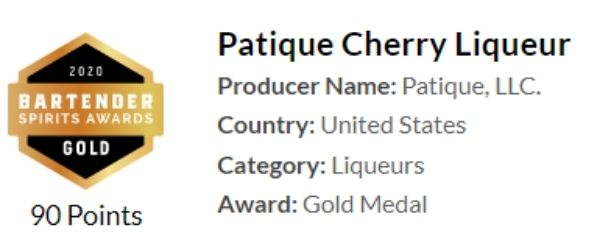Patique Cherry Liqueur won a gold medal and 90 points at the Bartender Spirits Awards.